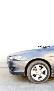 Silver sports car - cropped shot