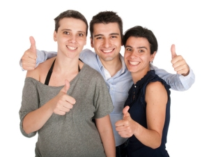 Brother and sisters showing thumbs up